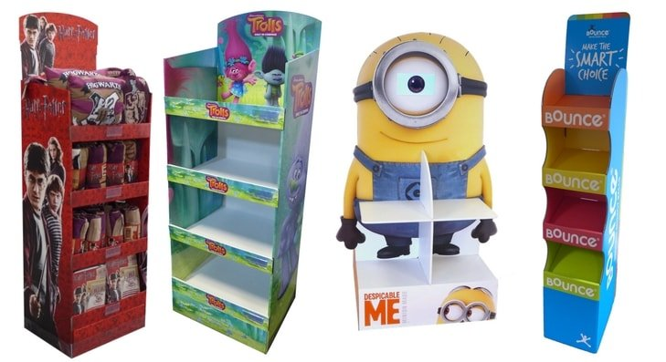 Retail Floor Free Standing Display Units FSDU Cestrian Interesting Cardboard Display Stands Uk