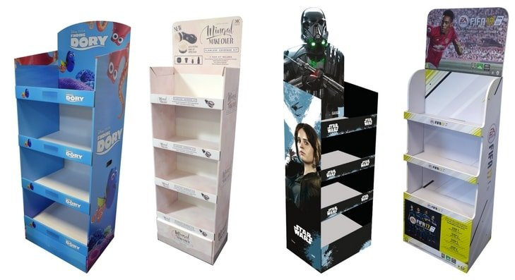 Retail Floor Free Standing Display Units FSDU Cestrian Awesome Cardboard Display Stands Uk