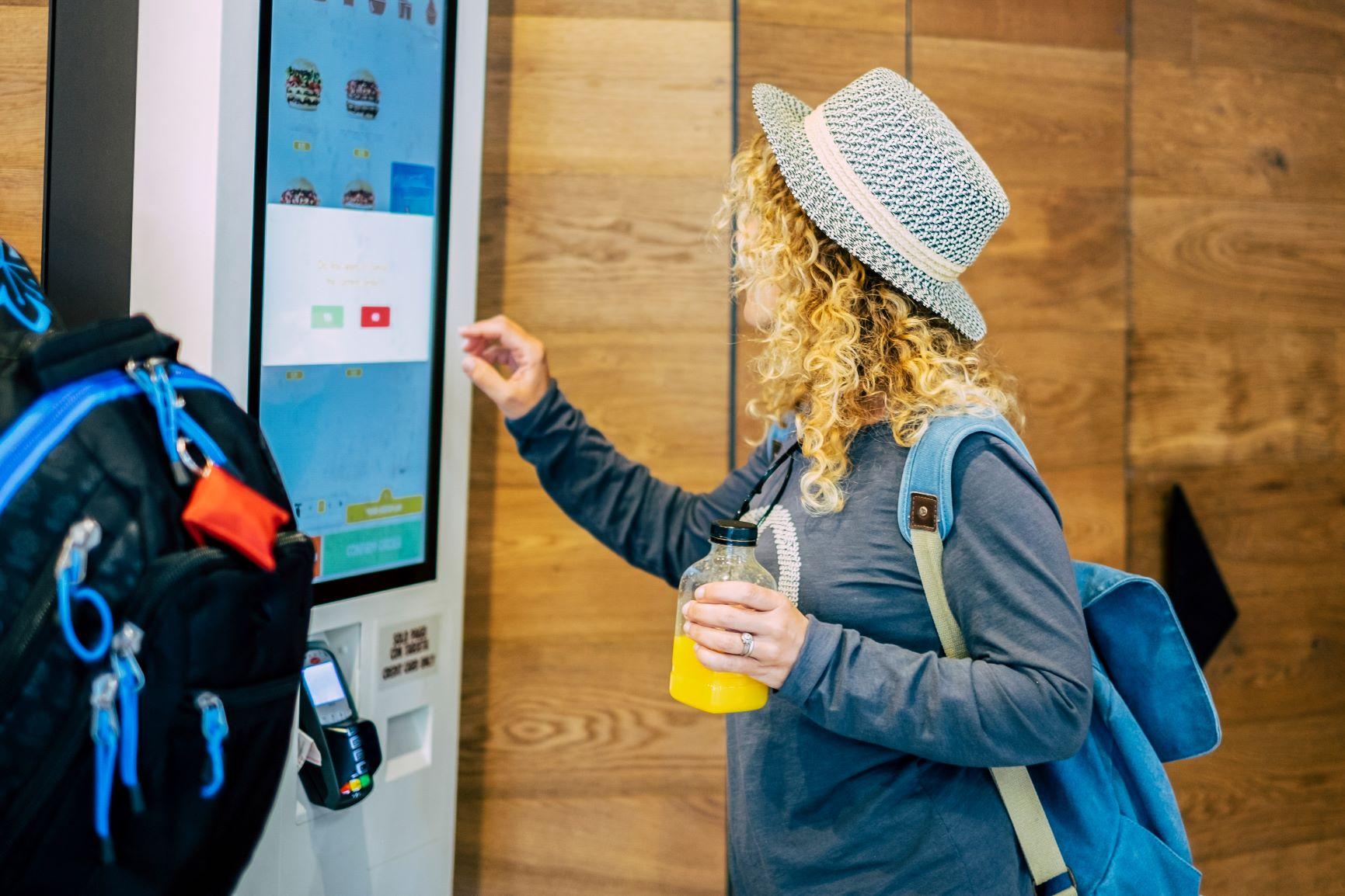 Digital screen at fast food restaurant