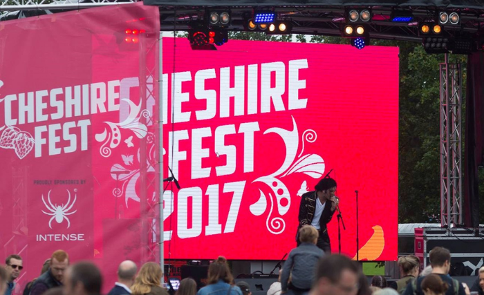 Cheshire Fest stage banner