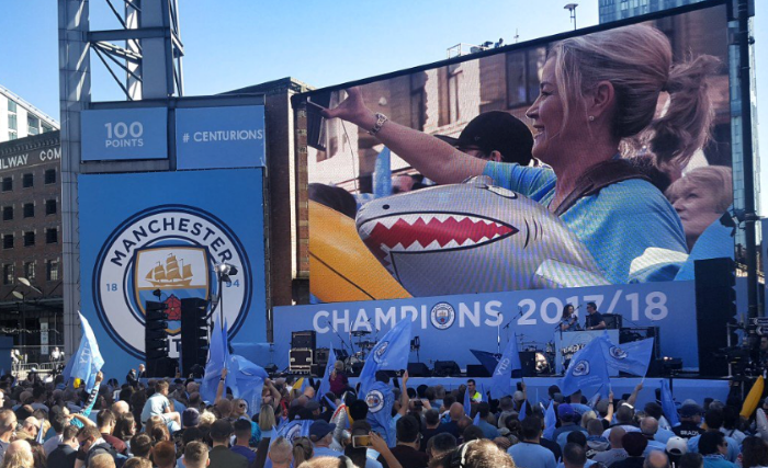 Manchester City Champions banners